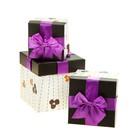 """Набор коробок 3в1 квадрат """"Узор/"""" (12*12*12/14.5*14.5*14.5/17*17*17 см), розовый"""