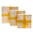 Набор коробок 3в1 квадрат хохлома (13*13*6/15*15*7.5/17*17*9 см), белый с золотом