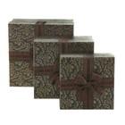 Набор коробок 3в1 квадрат хохлома (13*13*6/15*15*7.5/17*17*9 см), черный с золотом