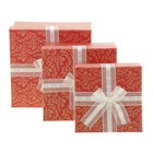 Набор коробок 3в1 квадрат хохлома (13*13*6/15*15*7.5/17*17*9 см), красный с золотом