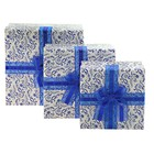 Набор коробок 3в1 квадрат хохлома (13*13*6/15*15*7.5/17*17*9 см), белый с синим