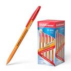 Ручка шариковая Erich Krause R-301 Orange Stick, узел 0.7 мм, чернила красные, длина линии письма 2000м, штрихкод на ручке