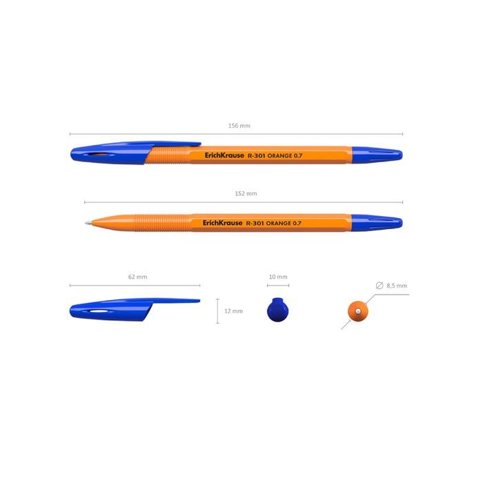 Ручка шариковая Erich Krause R-301 Orange Stick, узел 0.7 мм, чернила синие, длина линии письма 2000 метров *