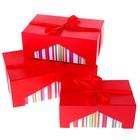 """Набор коробок 3в1 прямоуг """"Оригональность"""" (22*13*9/6*16*10/3*19*11 см), красная"""