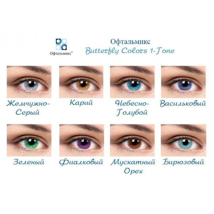 Цветные контактные линзы Офтальмикс Butterfly 1 - AQUA, -2.0/8,6, в наборе 2шт