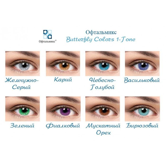Цветные контактные линзы Офтальмикс Butterfly 1 - Turquoise, -5.5/8,6, в наборе 2шт