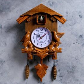 Часы настенные, серия: Маятник, с кукушками, коричневые, 30х34 см в Донецке