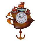 Часы настенные Корабль с маятником коричневый 28,5*29,5см