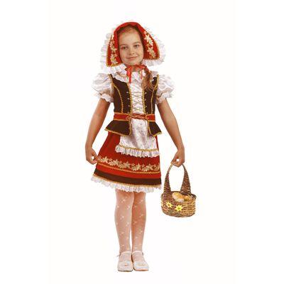 Карнавальный костюм «Красная Шапочка», (бархат, парча), размер 34, рост 128 см