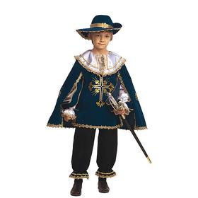 Карнавальный костюм «Мушкетёр», бархат, размер 28, рост 110 см, цвет синий