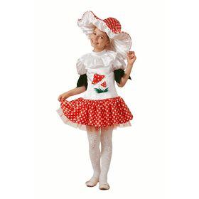 Карнавальный костюм «Грибок- девочка», текстиль, (платье, шапка), размер 32, рост 122 см