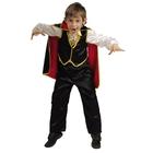 Карнавальный костюм «Дракула», текстиль, (рубаха с жилетом, брюки, накидка, медальон, зубы) цвет МИКС, размер 32, рост 122 см