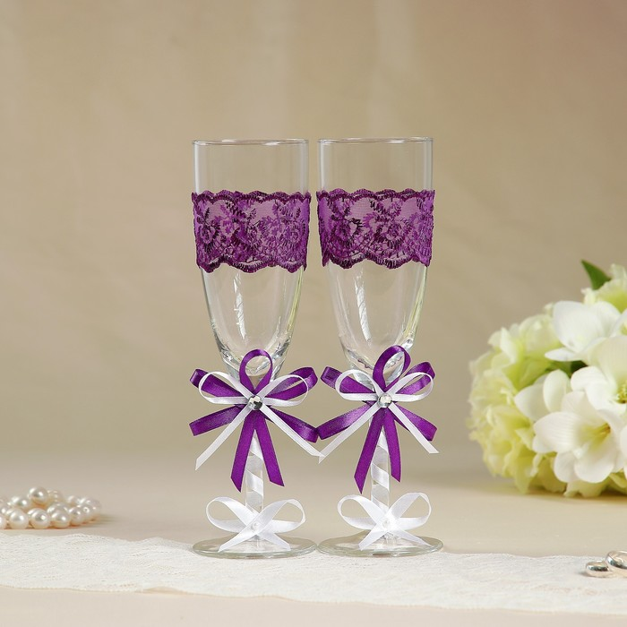 Набор свадебных бокалов для битья «Элит» с бантом и стразами, 2 шт., фиолетовый
