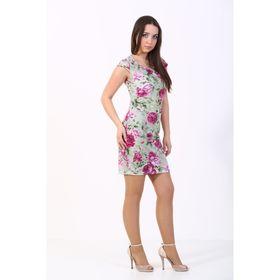 Платье женское, размер 44, салатовый принт 298Д274