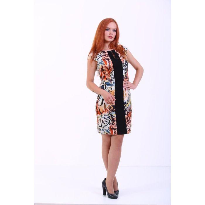 Платье женское, размер 48, принт чёрно-оранжевый 274Д233
