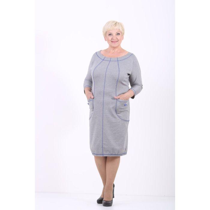 Платье женское, размер 52, цвет светло-серый 538Д500