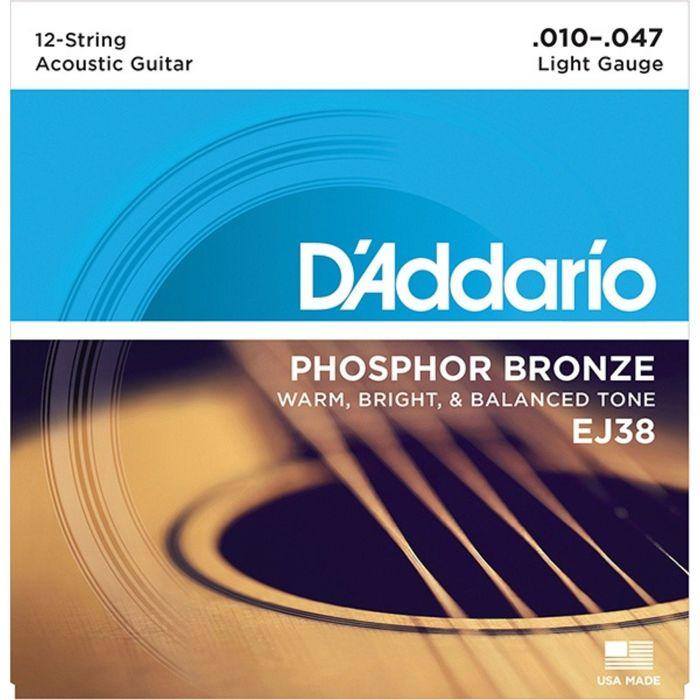 Струны для акустической 12-струнной гитары D'Addario EJ38 Phosphor Bronze, Light, 10-47