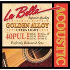 Струны для акустической гитары La Bella 40PUL Golden Alloy, Ultra Light, 9-48
