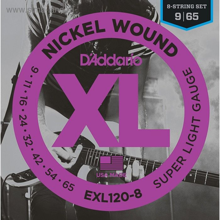 Струны для электрогитары D'Addario EXL120-8 Nickel Wound, Super Light, 9-65