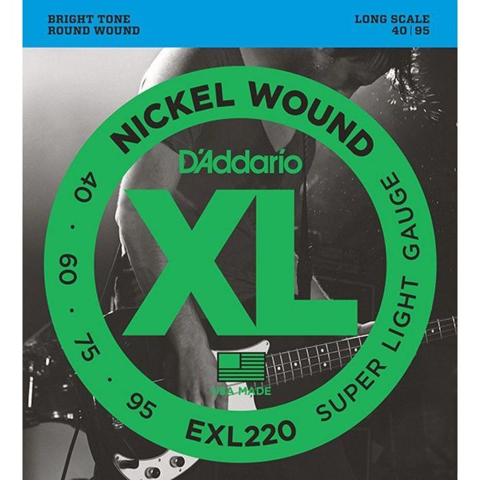 Струны для бас-гитары D`Addario EXL220 XL NICKEL WOUND  Long Super Light 40-95