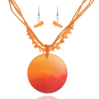 """Гарнитур 2 предмета: серьги, кулон """"Ракушка"""" круг, цвет оранжевый, 45см"""