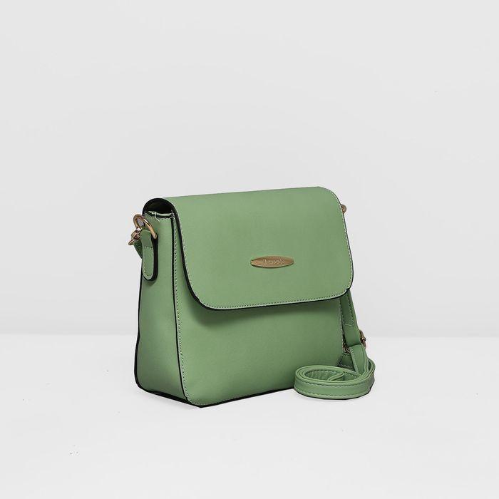 Сумка женская, отдел на молнии, наружный карман, регулируемый ремень, цвет зелёный