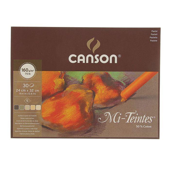 Альбом для пастели С4 240*320 мм Canson Mi-Teintes 5 160 г/м2, 30 листов, коричневые тона, склейка 400030144