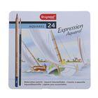 Набор карандашей художественных цветных, акварельных Bruynzeel Expression Aquarel 24 шт. + кисть в металлической коробке