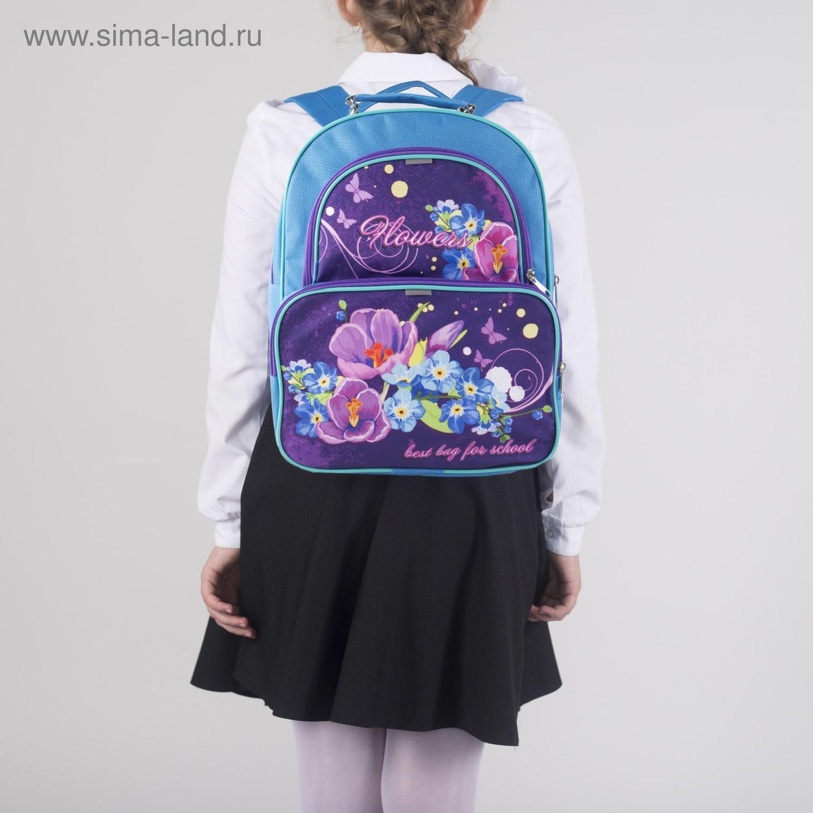 85989c0f50e0 Рюкзак школьный на молнии, 2 отдела, 2 наружных кармана, цвет  голубой/фиолетовый