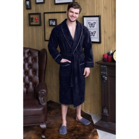 Халат мужской, шалька+кант, размер 52, тёмно-синий, махра