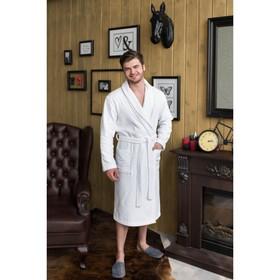 Халат мужской, шалька, размер 54, цвет белый, махра
