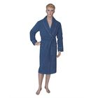 Халат мужской, шалька/кант, размер 62, тёмно-синий, махра