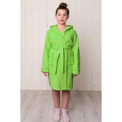 Халат для девочки с капюшоном, рост 98 см, салатовый, махра