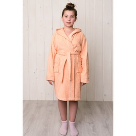 Халат для девочки с капюшоном, рост 128 см, персиковый, махра