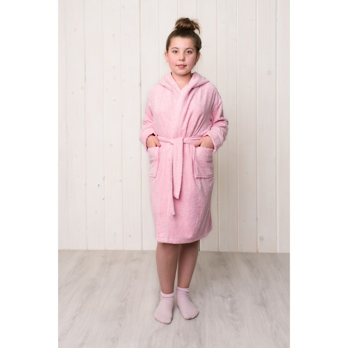 Халат махровый для девочки капюшон+кант, цв. розовый, рост 128, хл100%