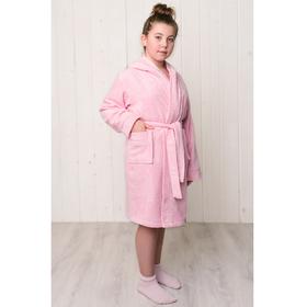 Халат для девочки с капюшоном, рост 152 см, розовый, махра