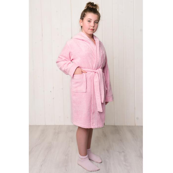 Халат махровый для девочки капюшон+кант, цв. розовый, рост 152, хл100%