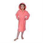 Халат для девочки с капюшоном, рост 104 см, коралловый, махра