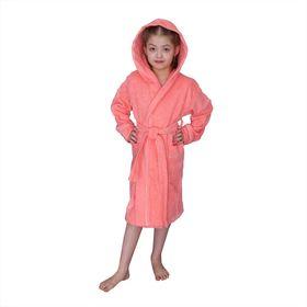 Халат для девочки с капюшоном, рост 146 см, коралловый, махра