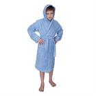Халат махровый для мальчика капюшон + кант, цв. синий, рост 92, хл100%