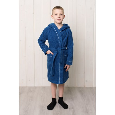 Халат для мальчика с капюшоном, рост 104 см, синий, махра