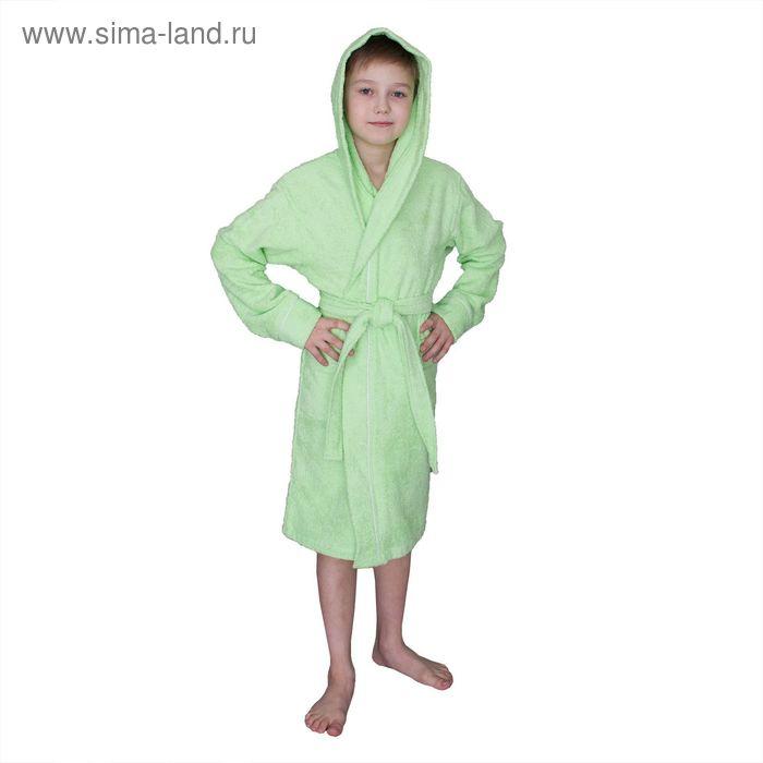 Халат махровый для мальчика капюшон + кант, цв. салатовый, рост 92, хл100%