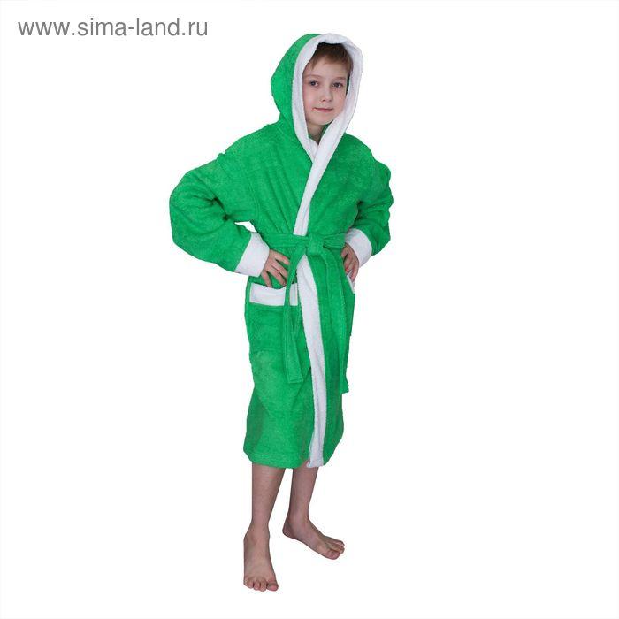Халат махровый для мальчика капюшон + комби/белый, цв. зеленый, рост 134, хл100%