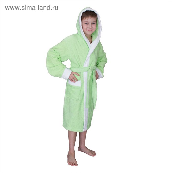 Халат махровый для мальчика капюшон + комби/белый, цв. салатовый, рост 104, хл100%