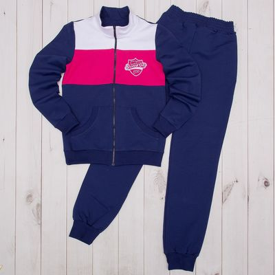 Костюм спортивный для девочки (куртка, брюки), рост 104 см, цвет тёмно-синий/фуксия Л692