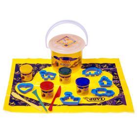 Набор для лепки JOVI: паста 4 цвета по 50г, 6 формочек, 3 стека, клеёнка для лепки, в пластиковом ведёрке