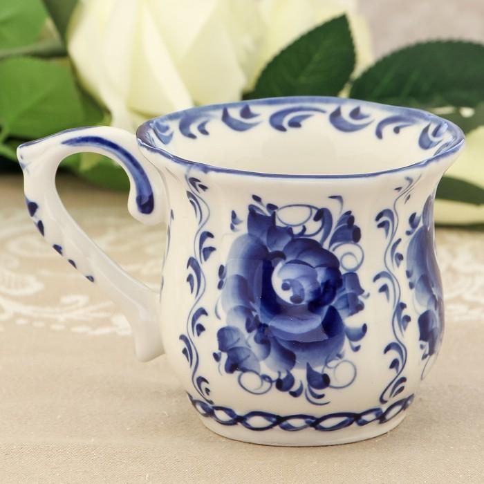 Чашка «Пион», 13×9×9 см, гжель