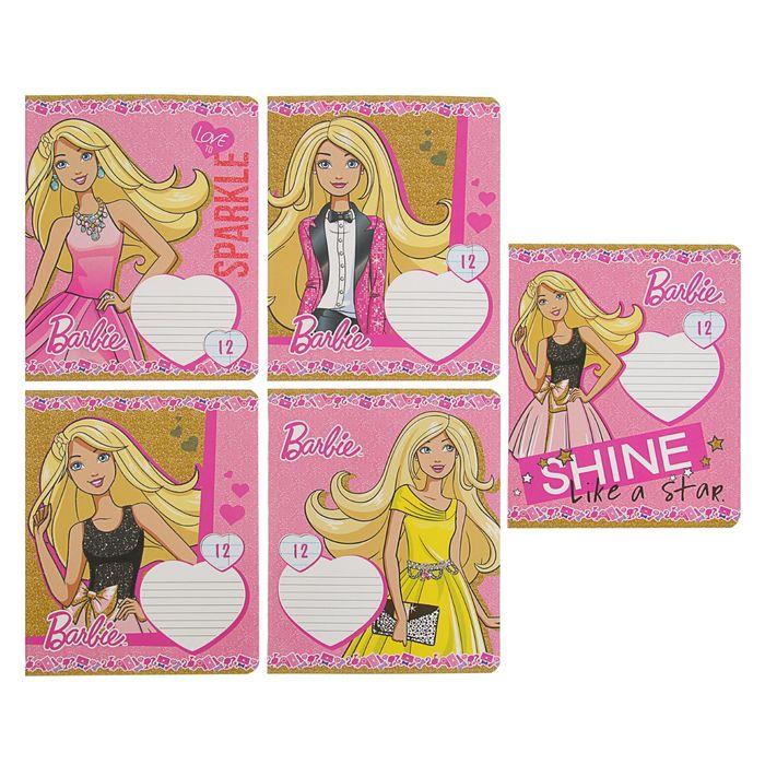 Тетрадь 12 листов линейка Barbie, обложка мелованный картон, полный УФ-лак, МИКС