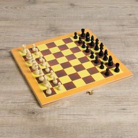 "Настольная игра ""Шахматы"", фигуры пластик, доска дерево 34х34 см"