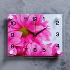 """Часы настенные прямоугольные """"Цветок"""", 20х26 см микс"""